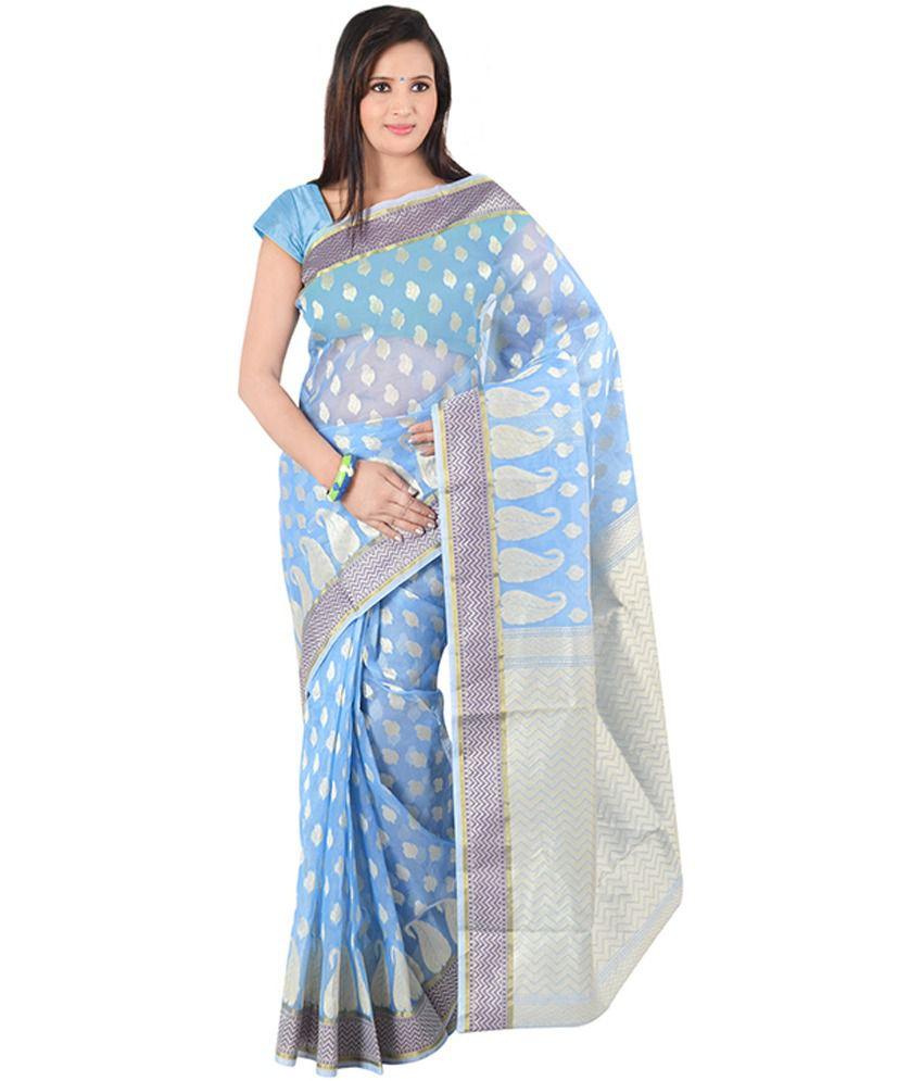 Indusdiva Banarasi Sky Blue And Cream Art Silk Saree