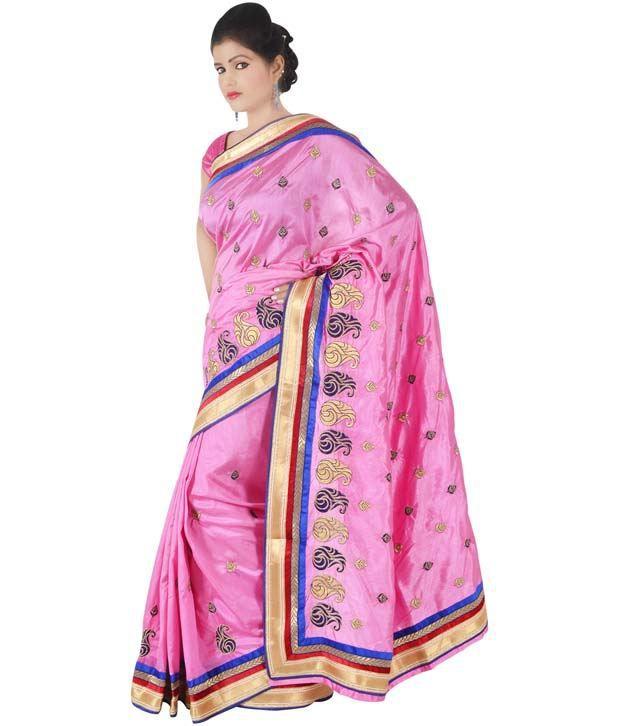Indusdiva Pink Dupion Silk Saree