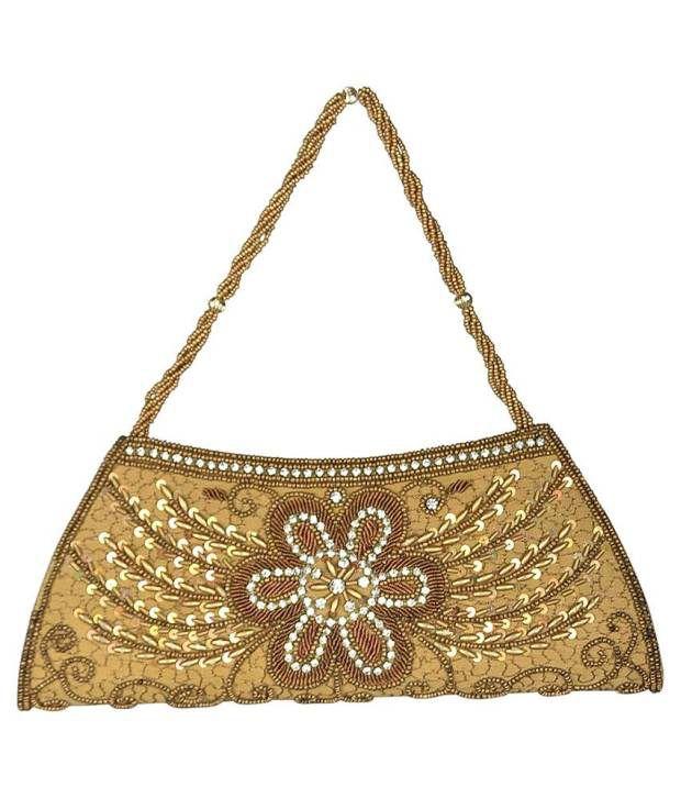 Miswish Golden Designer Clutch For Women