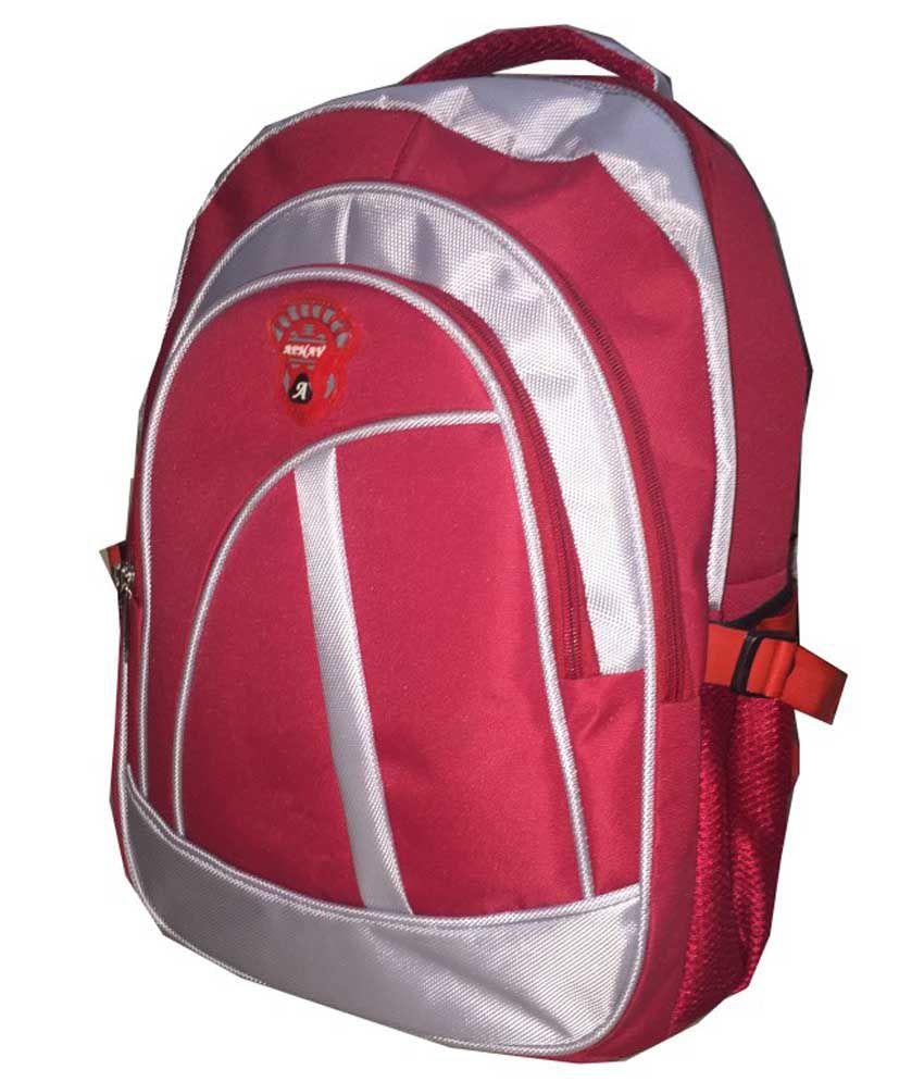 Apnav Red And Gray School Bag