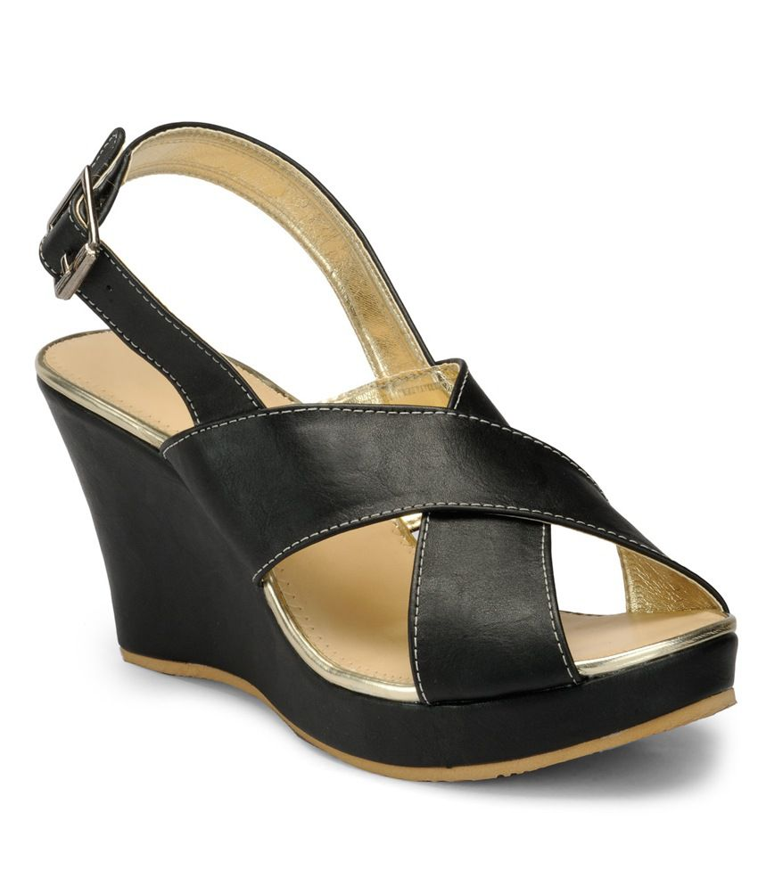 Nell Black Wedges Sandals
