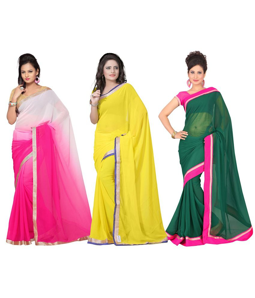 Florence Multicolour Printed Semi Chiffon Saree With Blouse Piece - Pack Of 3