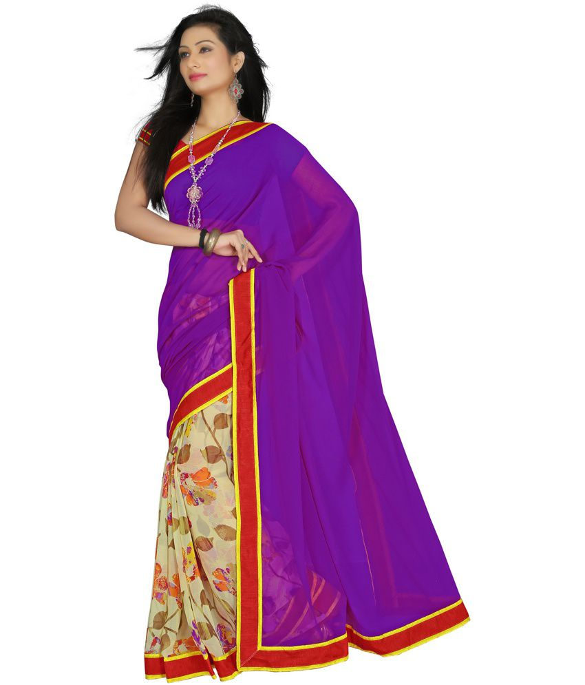 Saree Sansar Multicoloured Chiffon Saree