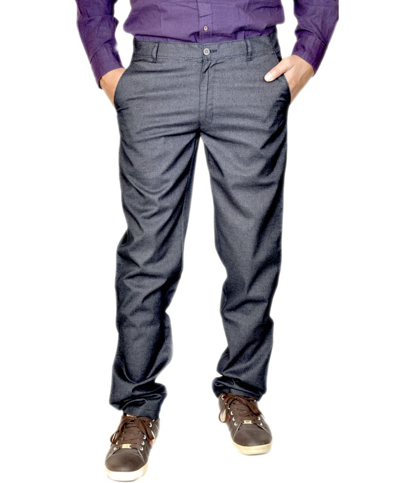 Smartshop123 Blue Cotton Lycra Slim Fit Formal Trouser