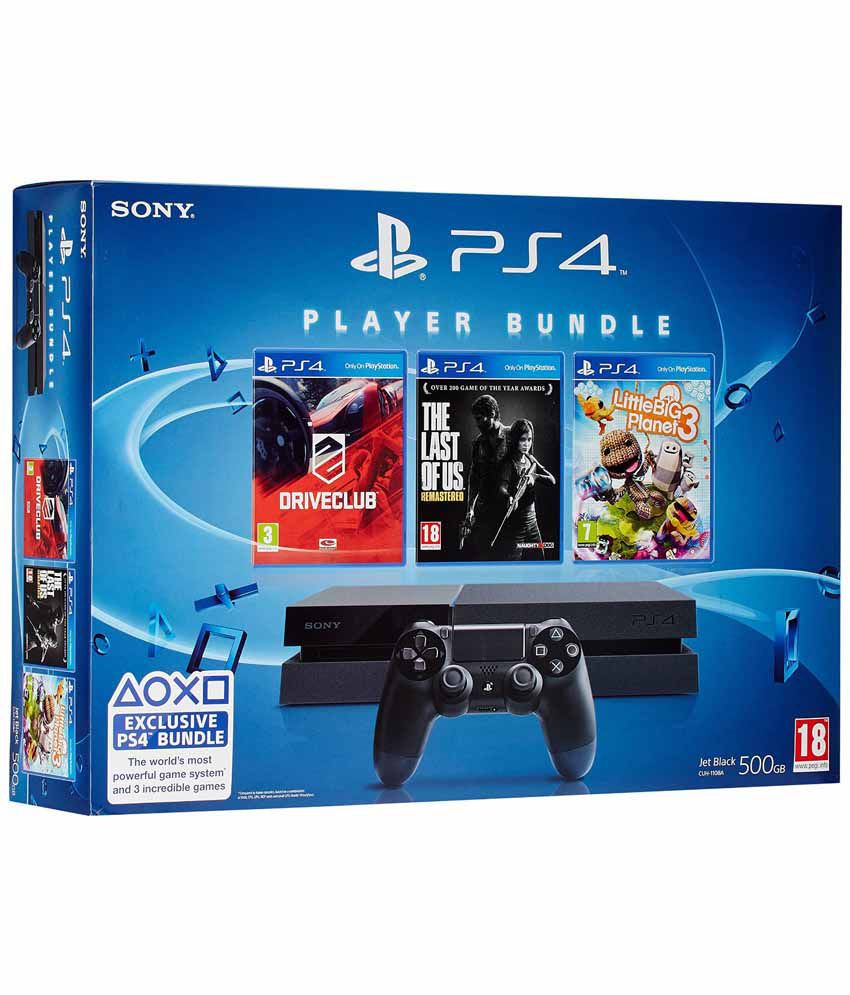 Sony Playstation 4 -500gb Console With Free Games: Drive Club, The Last Of Us And Lbp3