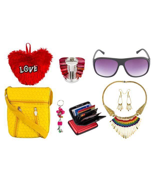 Glitters Sunglasses-sling Bag-necklace Set- Lipstick Set-card Holder-key Chain-heart Combo