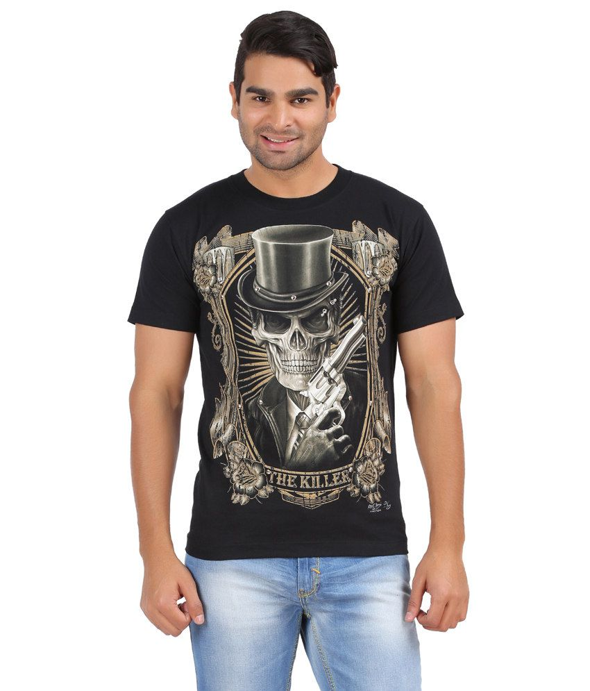 Upbeat Black Cotton Printed Mens T-shirt