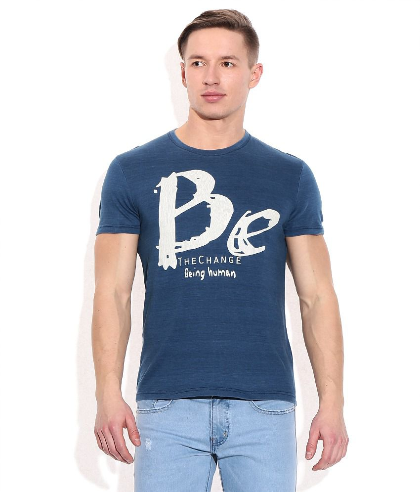 Being Human Blue Cotton T-Shirt