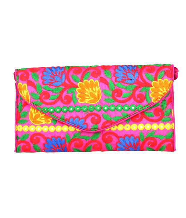 Glitters Pink Raw Silk Floral Embroidered Clutch