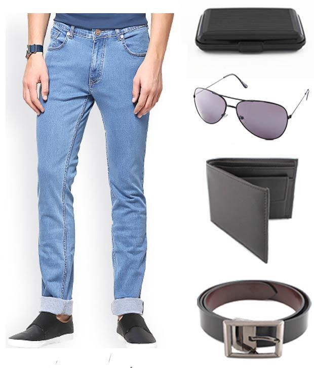 Keepsake Combo Of Mens Jeans With Wallet, Belt, Aviator Sunglasses & Cardholder