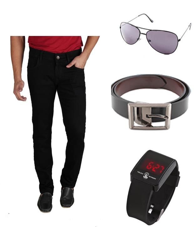 Keepsake Combo Of Mens Jeans With Watch, Belt & Aviator