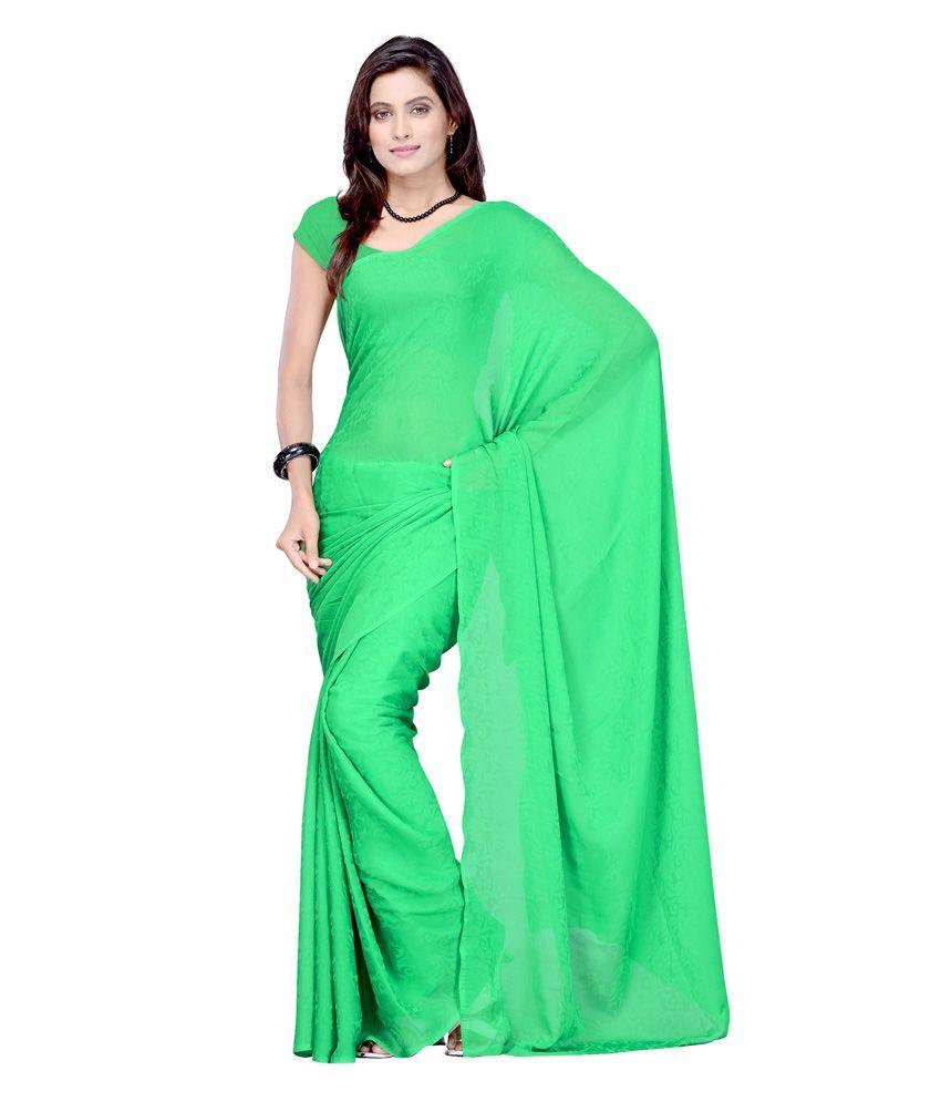 Man Mandir Sarees Green Cotton Saree - Buy Man Mandir Sarees Green Cotton Saree Online at Low ...