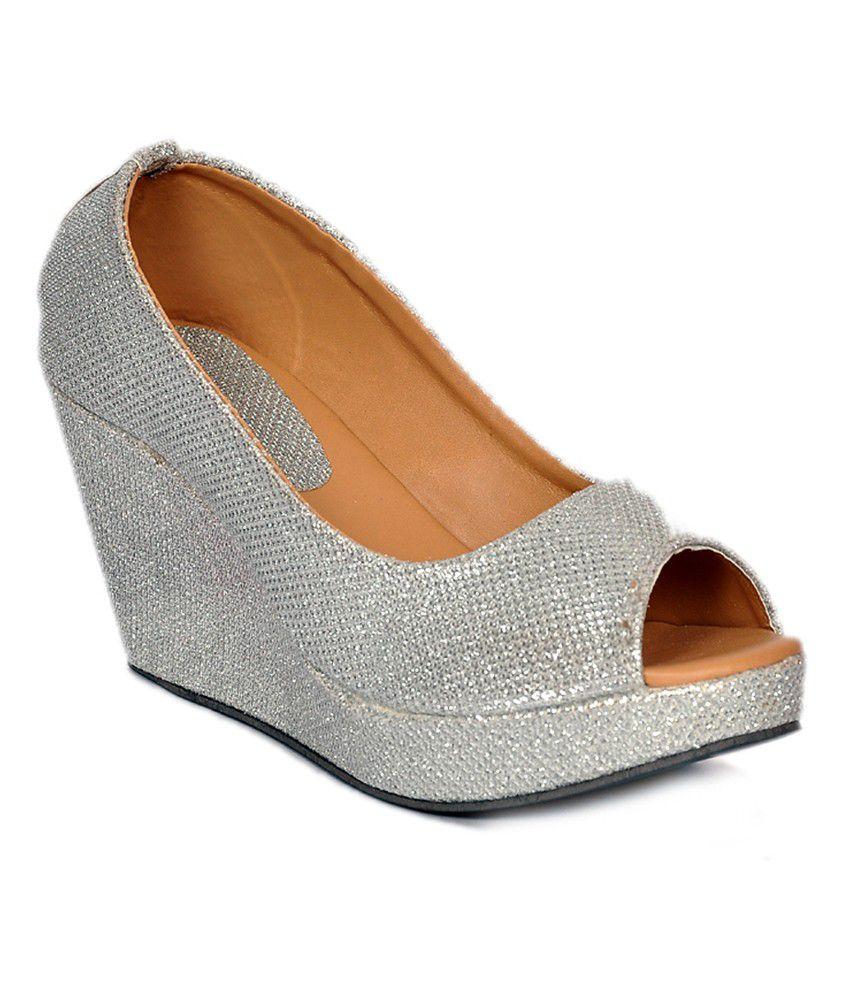 Stylish Step Silver Comfortable Medium Heel Wedges