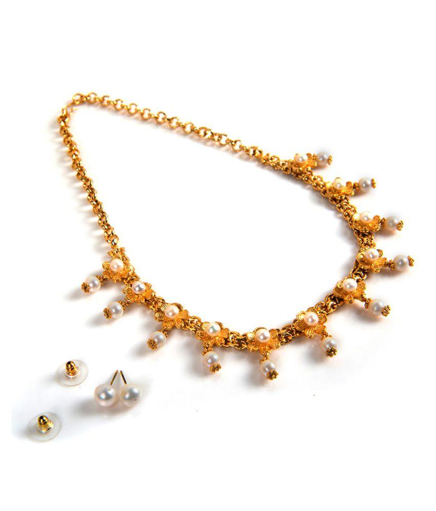 Taj Pearl Gold Plated Flower Design Pearl Necklace - Buy Taj Pearl ...