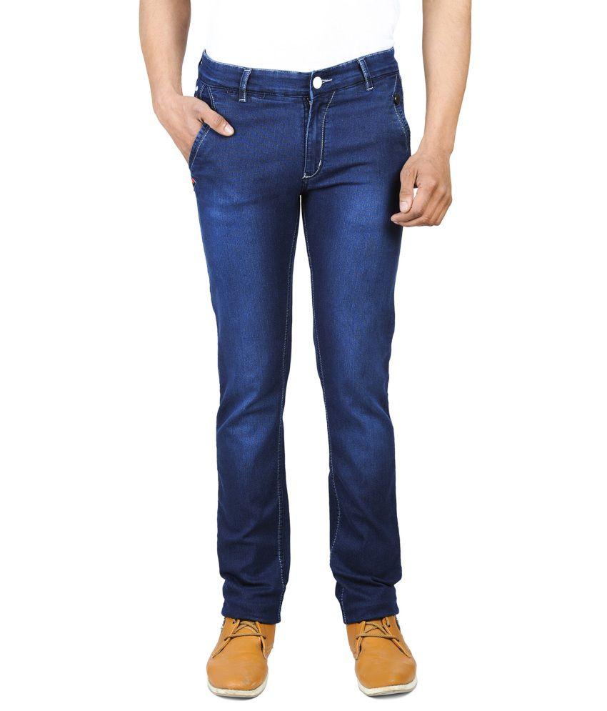 Wintage Blue Cotton Slim Men Jeans