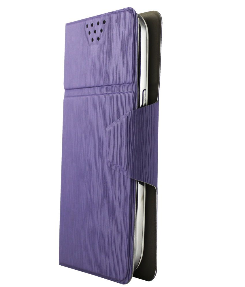 Molife Universal  Flip Cover For Alcatel Onetouch Idol X+ - Light Purple