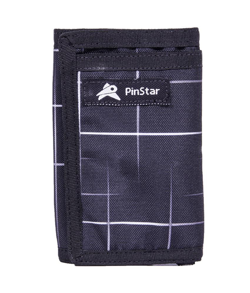 Pinstar Black Polyester Regular Wallet
