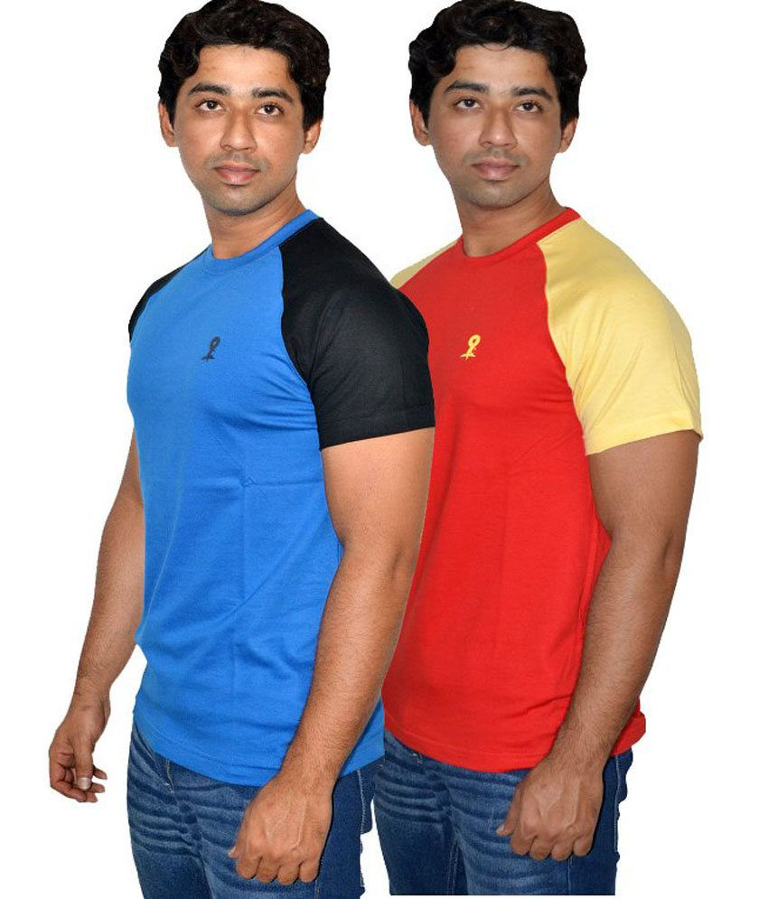 Blackmilan Men's Blue And Red Half Sleeve Raglon Round Neck T-shirt