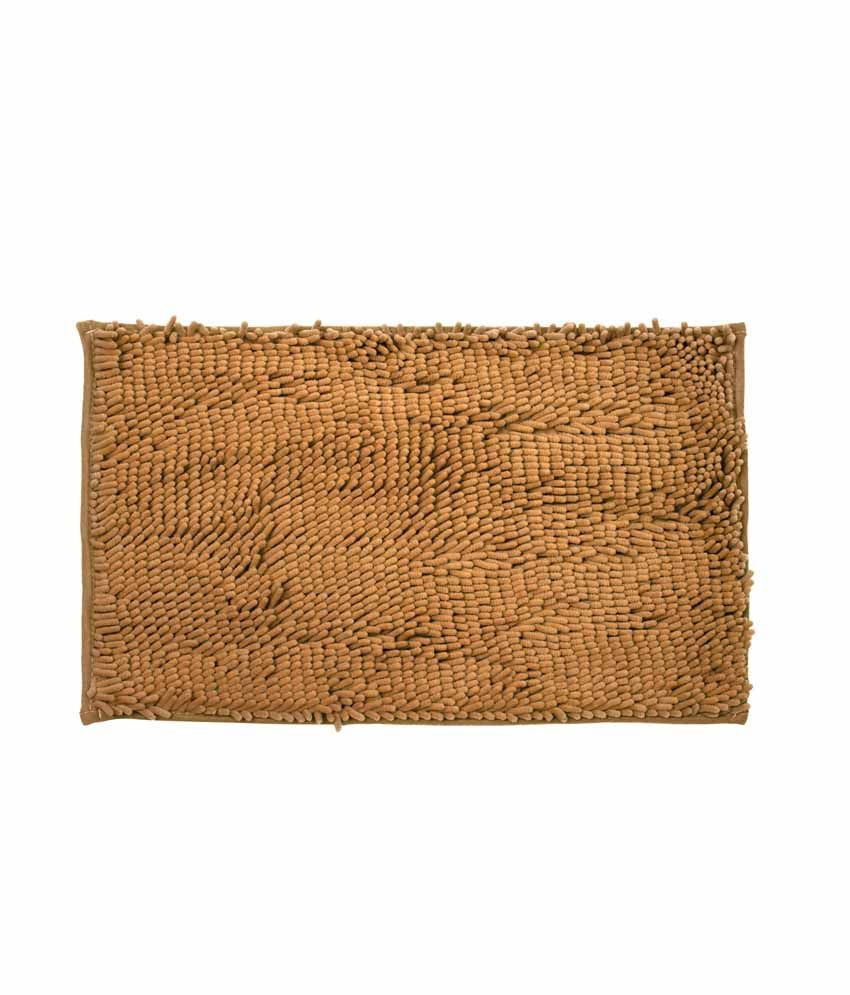 Just Linen Chenile Pom Pom Antiskid Rust Brown Floor Mat