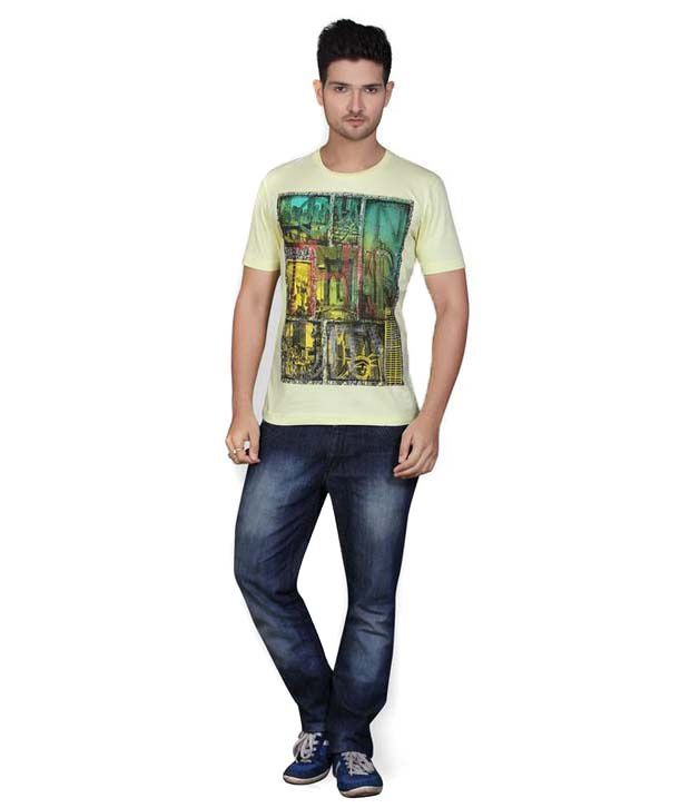 Mahavir Creation Blue Round Neck Printed Cotton T-shirt
