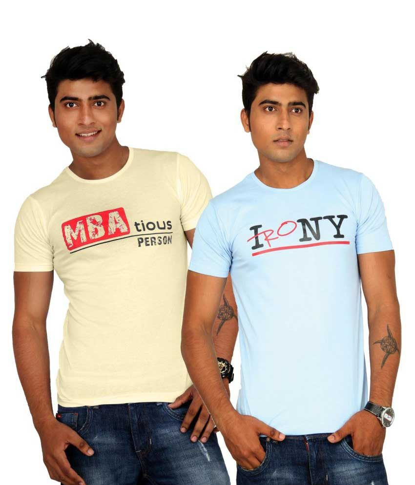 Teestadka Printed Men's Round Neck T-shirt - Pack Of 2
