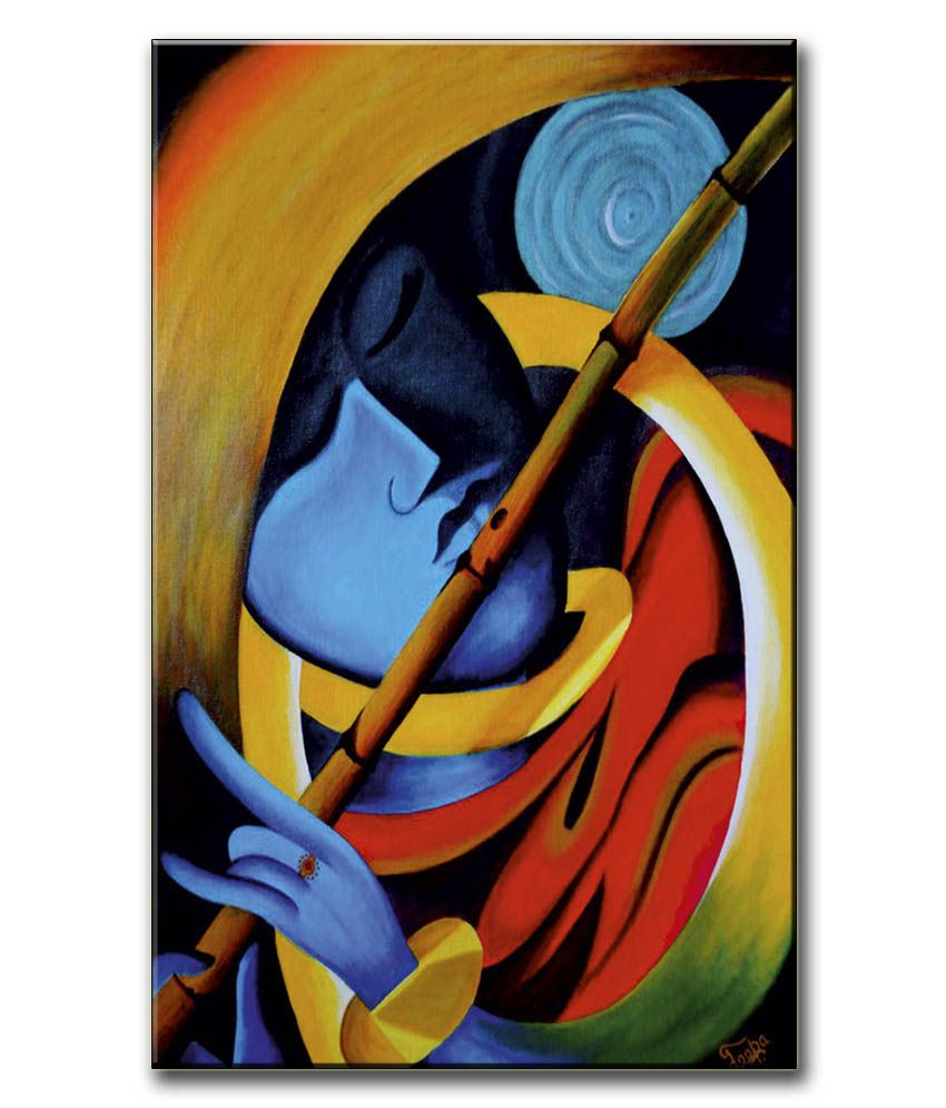 Anwesha's Gallery Wrapped Canvas Digital Print Wall Painting 12.5 X 20 Inch - Krishna Flute