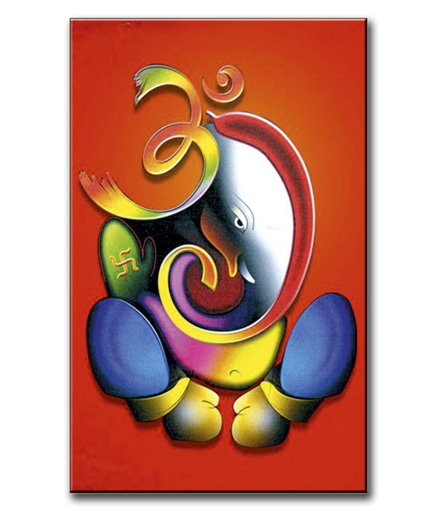 Anwesha's Gallery Wrapped Canvas Digital Print Wall Painting 12.5 X 20 Inch - Ohm Ganesh