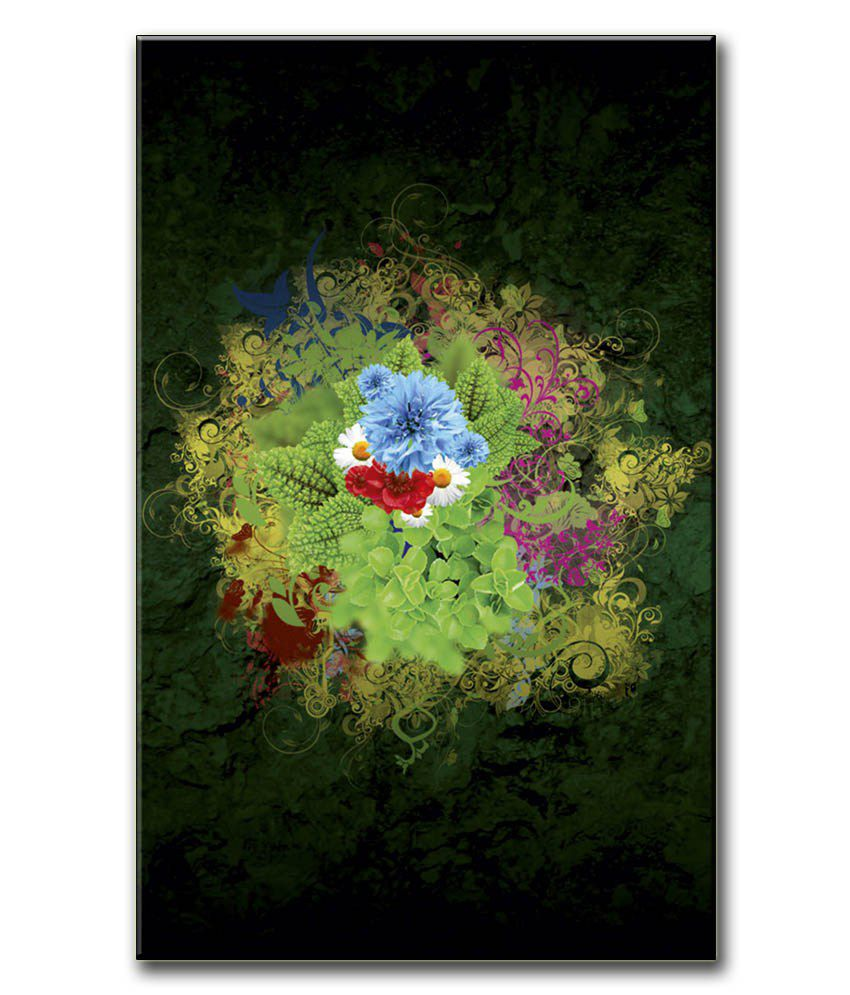 Anwesha's Gallery Wrapped Canvas Digital Print Wall Painting 12.5 X 20 Inch - Green Flower