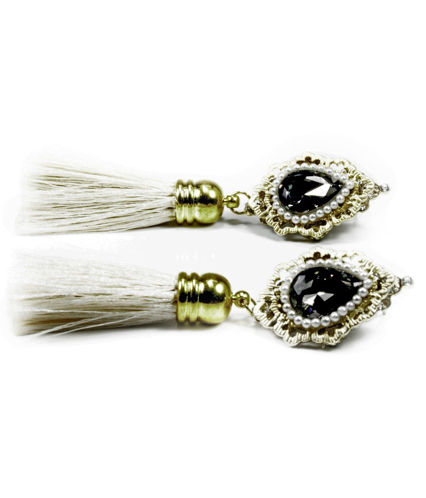 Astinkarma Ladies Thread Tassle White Long Tassel Earrings