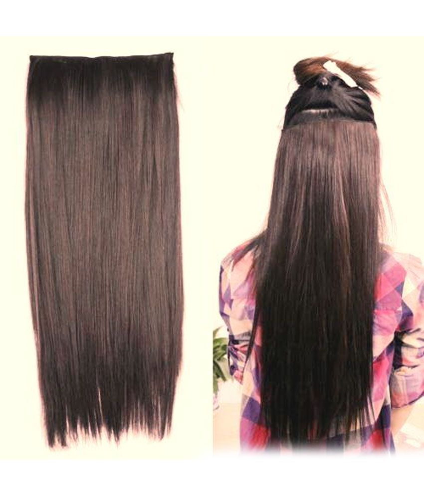 Out Of Box Straight Hair Extensions Synthetic Hair Natural Brown