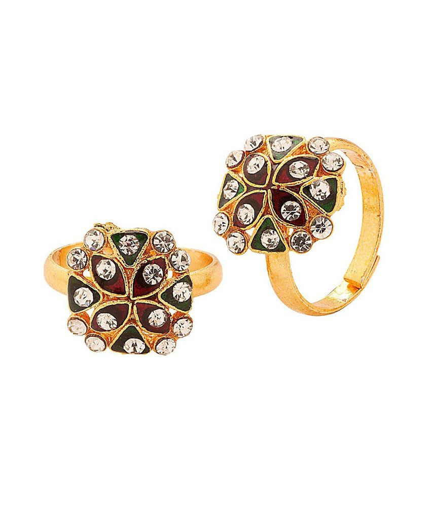 R S Jewels Toe Ring Gold Plated Multicolour Stone Enamel