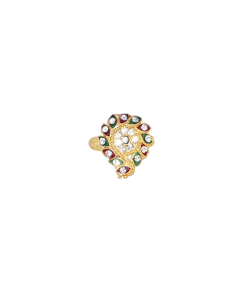 R S Jewels Women Toe Ring Gold Plated Multicolourenamel Cz