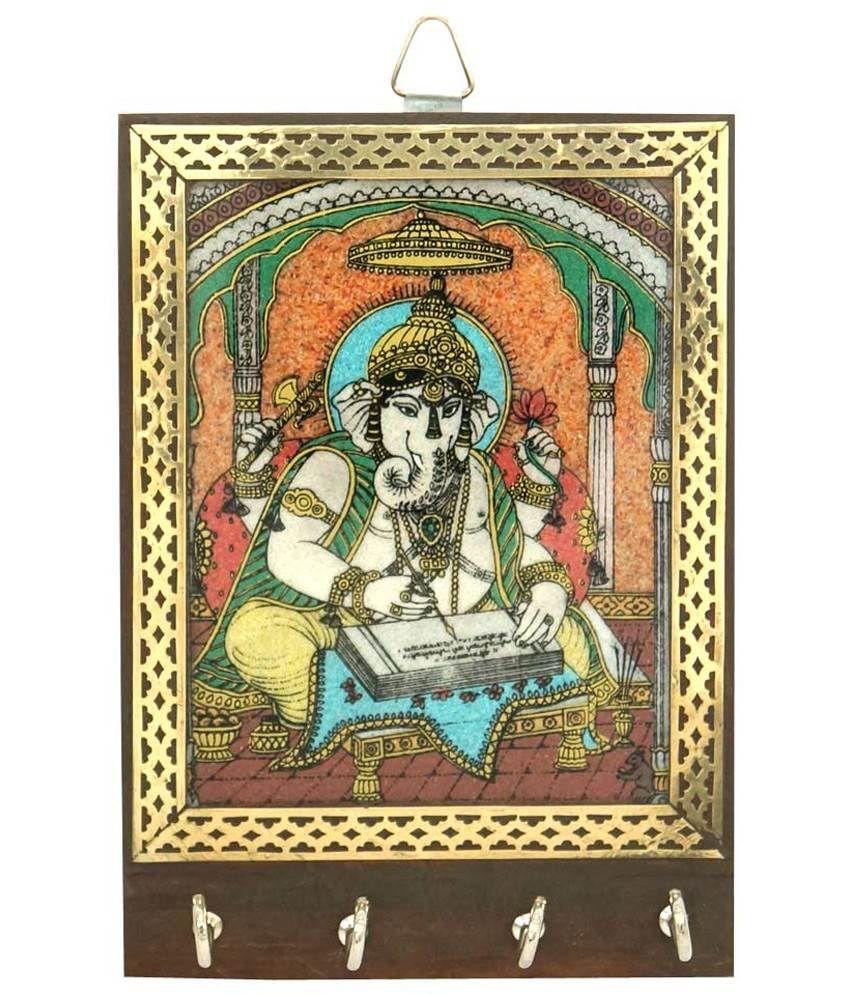 R S Jewels Wooden Loard Ganesha Gemstone Painting Key Holder