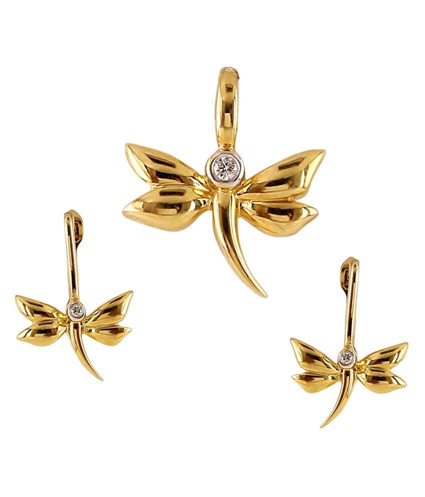 Ratnam Real Diamond Designer Butterfly Pendant Set