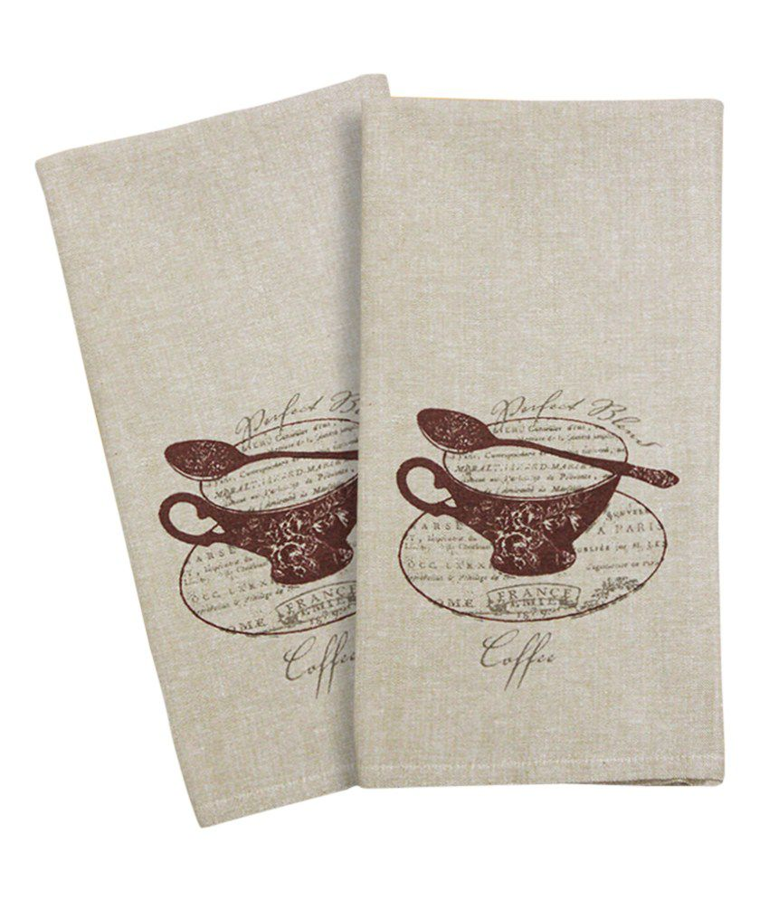 Rhome gray printed cotton kitchen towels set of 2 buy for Snapdeal products home kitchen decorations