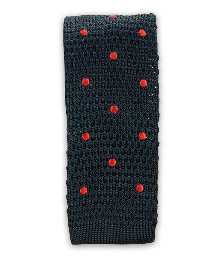 The Tie Hub Black Polyester Casual Knitted Tie For Men