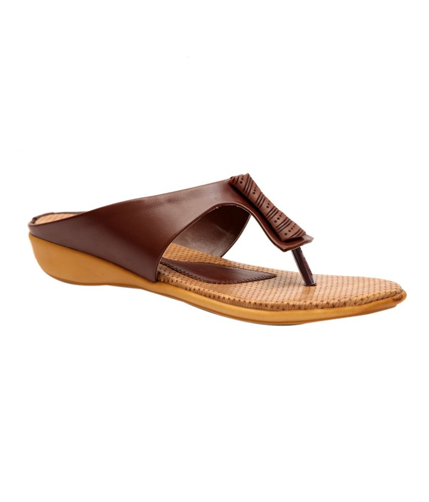 Trilokani Tan Synthetic Comfertable Women's Slipper