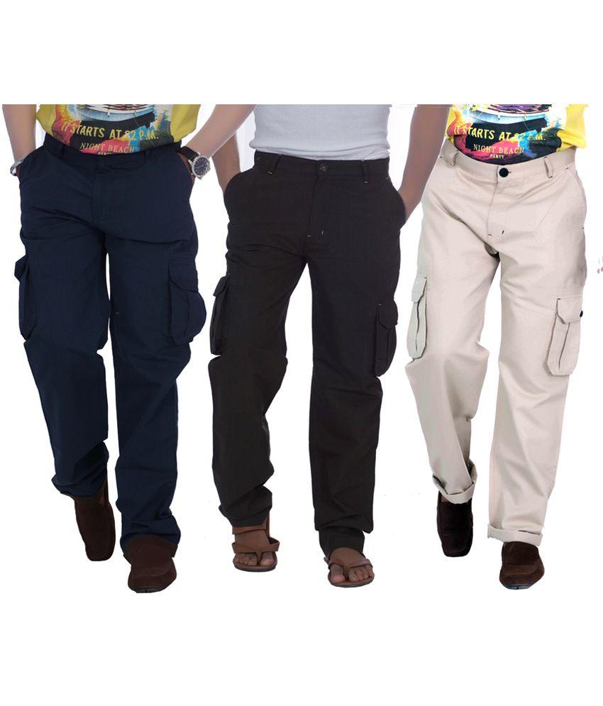 True Fashion Multicolor Cotton Casual Wear Men's Cargo