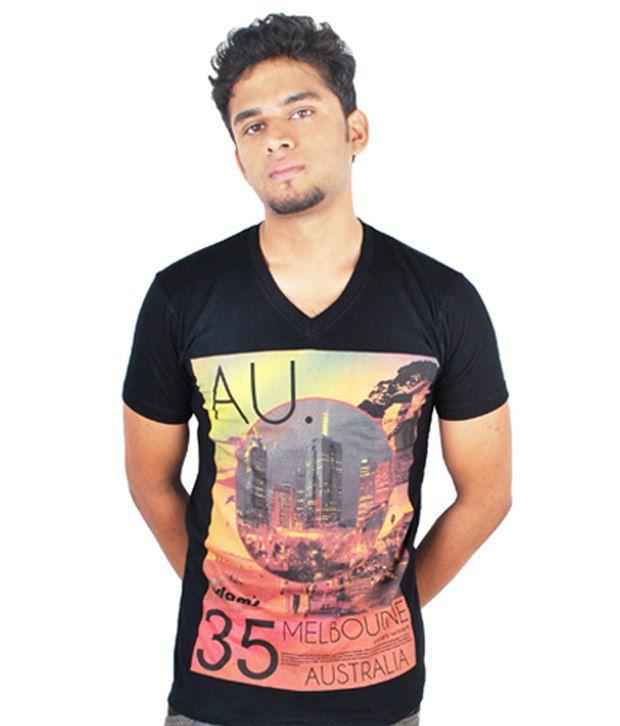 Adam's Black Printed Cotton T-shirt