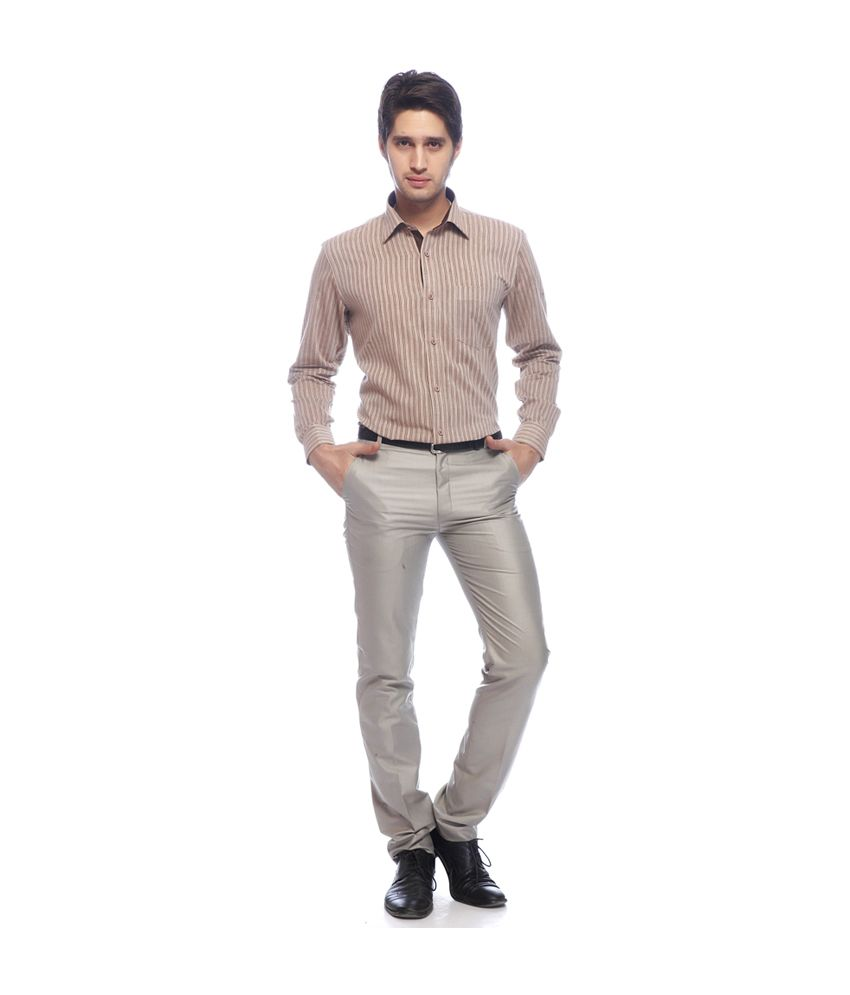 Adventure Beige Slim Fit Cotton Formal Trouser