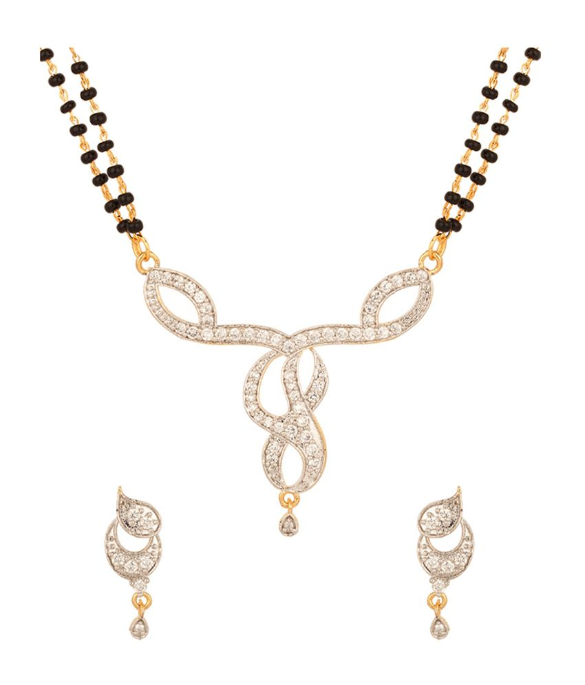 Voylla Double Chain Mangalsutra Set With Pretty Ganesha Design, Gold Plating