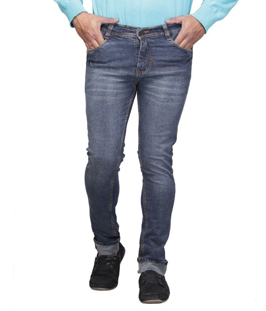 X-cross Blue Cotton Blend Faded Regular Fit Jeans