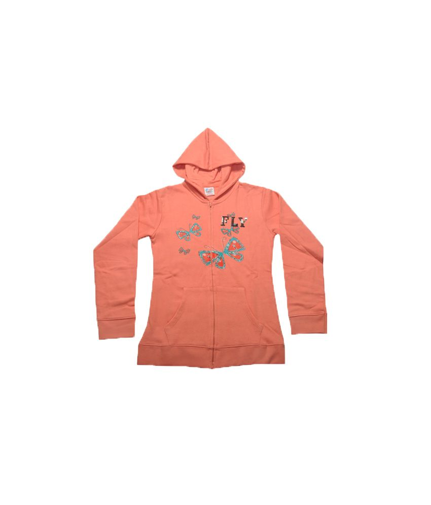 Bg Casual Orange Cotton Hooded Sweatshirt For Girls