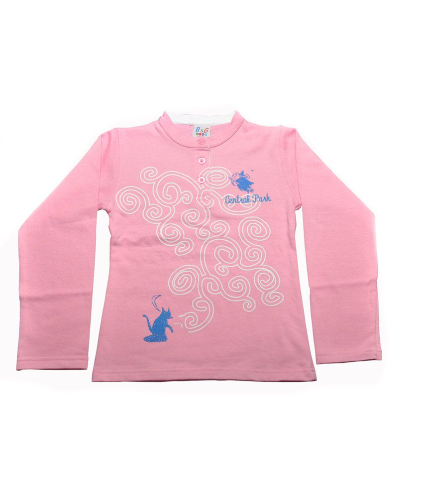 Bg Casual Pink Cotton Without Hood Sweatshirt For Girls