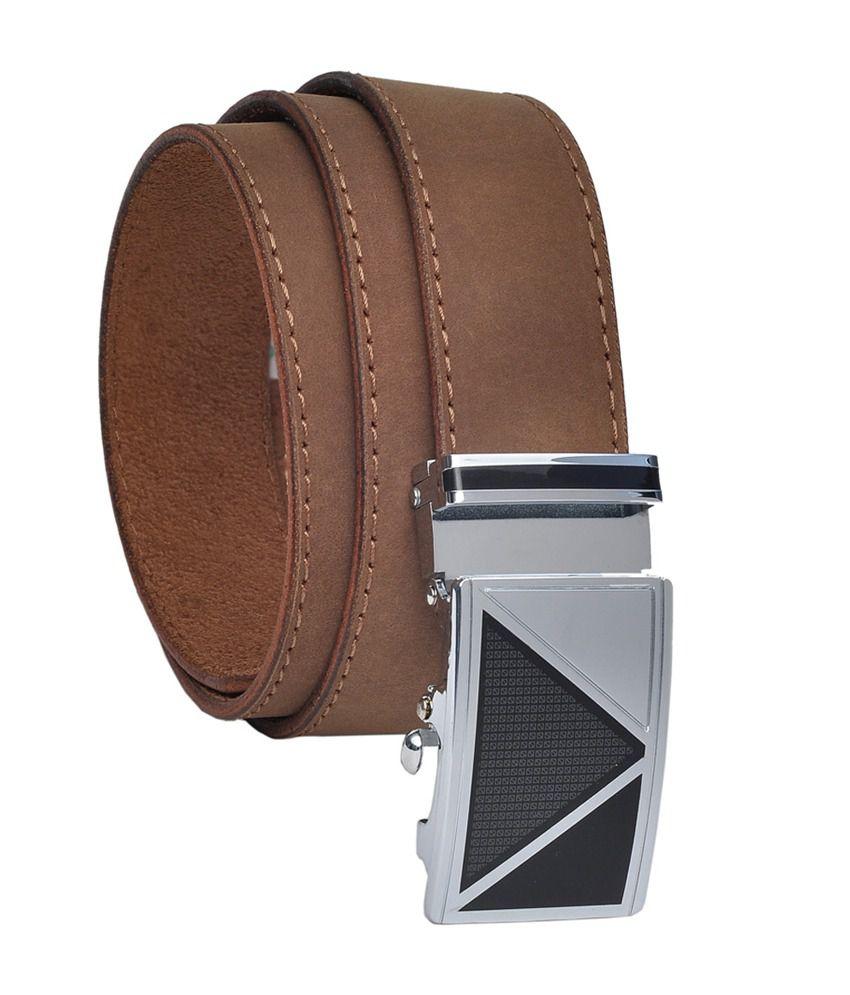 Hawai Tan Tan Hunter Leather Belt With Metallic Buckle