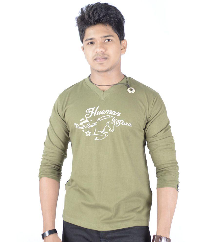 Hueman Olive Green Printed V-neck T-shirt