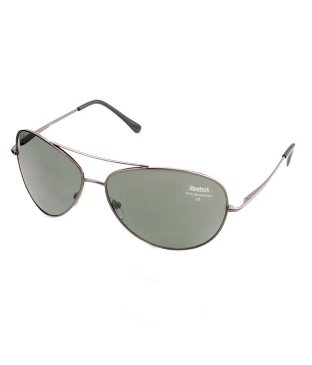 Reebok Dark Green Aviator Oval Sunglasses For Men