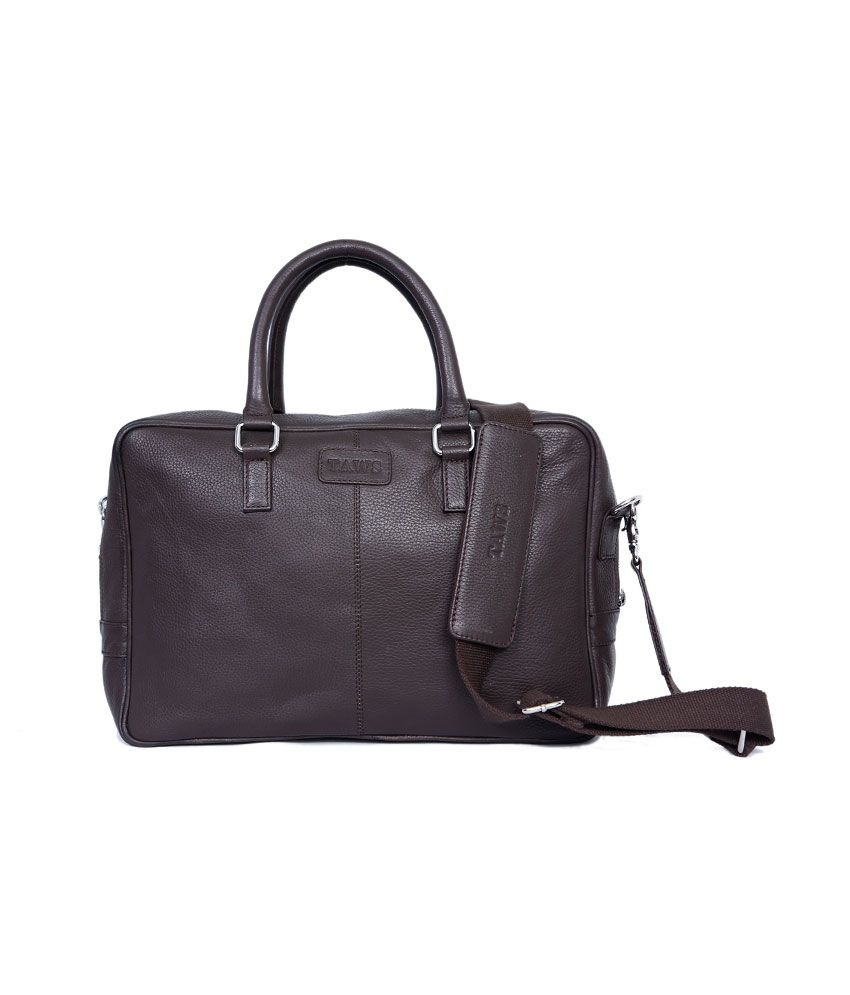 Taws Brown Leather Laptop Bag
