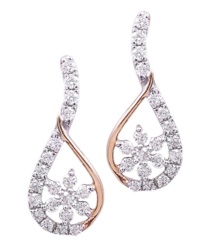 9coins 18kt Gold Natural Diamond Studded Floral Vintage Earrings
