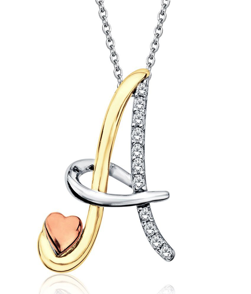 aamanat initial a tri tone love pendant in sterling silver